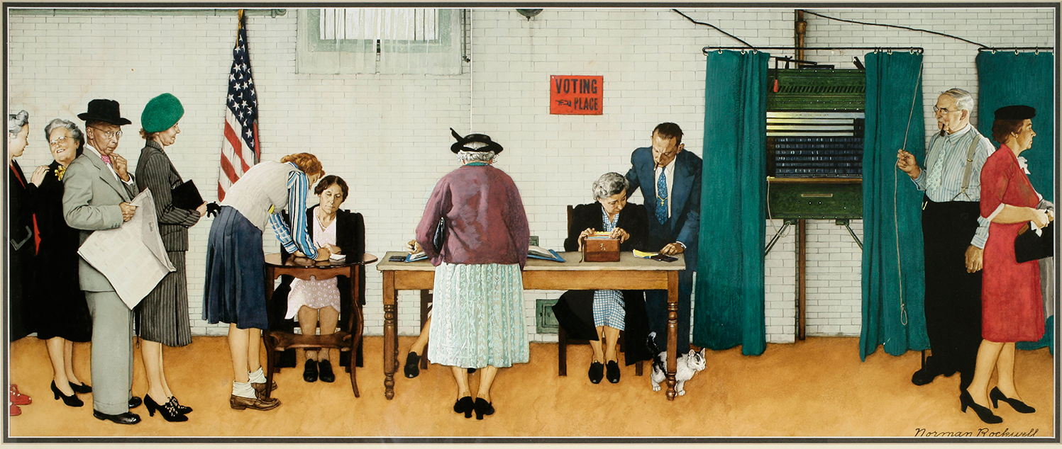 Norman Rockwell, Election Day, 1944, watercolor and gouache, 14 x 33 1/2 in., Museum purchase, Save-the-Art fund, 2007.037.1.